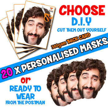 20 x PERSONALISED CUSTOM Stag Masks PHOTO DIY OR CUT PARTY FACE MASKS - Stag & Hen Party Facemasks