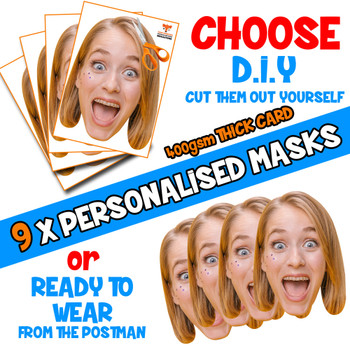9 x PERSONALISED CUSTOM Hen Party Masks PHOTO DIY OR CUT PARTY FACE MASKS - Stag & Hen Party Facemasks