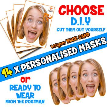 14 x PERSONALISED CUSTOM Hen Party Masks PHOTO DIY OR CUT PARTY FACE MASKS - Stag & Hen Party Facemasks