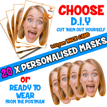 20 x PERSONALISED CUSTOM Hen Party Masks PHOTO DIY OR CUT PARTY FACE MASKS - Stag & Hen Party Facemasks