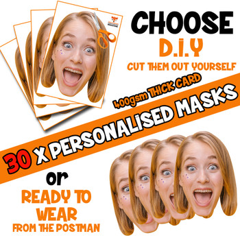 30 x PERSONALISED CUSTOM Hen Party Masks PHOTO DIY OR CUT PARTY FACE MASKS - Stag & Hen Party Facemasks