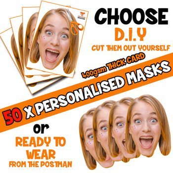 50 x PERSONALISED CUSTOM Hen Party Masks PHOTO DIY OR CUT PARTY FACE MASKS - Stag & Hen Party Facemasks
