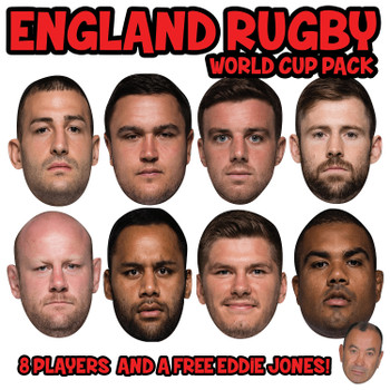 England Rugby World Cup 8 Mask Pack + FREE EDDIE JONES!