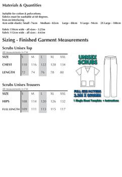 FULL Size Printed Scrubs Pattern 2.4m x 1m Wide (1 SHEET)