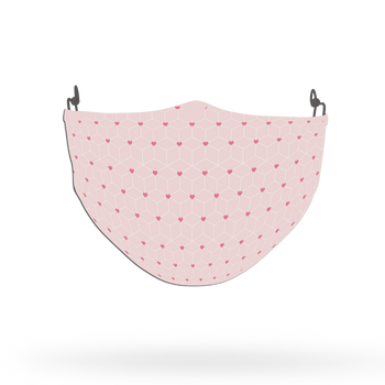 White and Pink Love Pattern Face Covering Print 3
