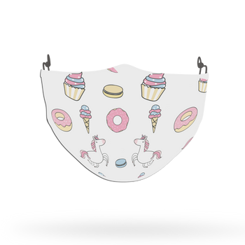 Unicorn Pattern Cupcakes and Donuts Face Covering Print 1