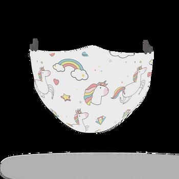 Unicorn Pattern Rainbow Face Covering Print 3
