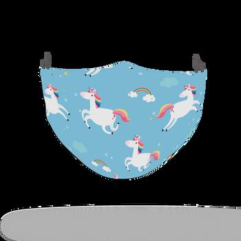 Blue Unicorn Pattern Rainbow Face Covering Print 4