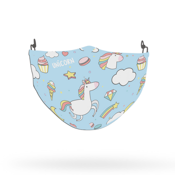 Blue Unicorn Pattern Face Covering Print 6