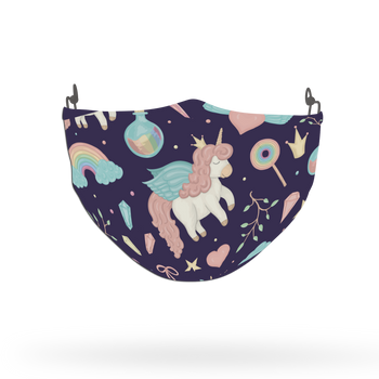 Blue Unicorn Pattern Face Covering Print 7