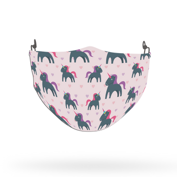 Unicorn Hearts Pattern Face Covering Print 13