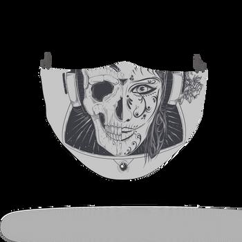 Horror Woman Skull Pattern Face Covering Print 5