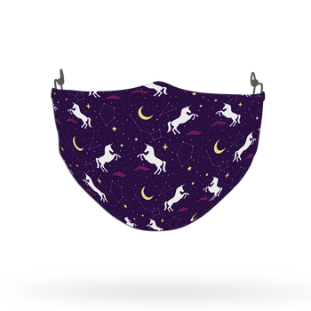 Purple Unicorn Silhouette Pattern Face Covering Print 2