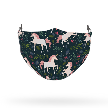 Green Floral Unicorn Pattern Face Covering Print 4