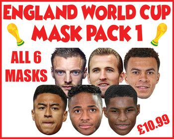 England Mask Pack 1 Football World Cup 2018 Face Mask Pack Kane, Ali etc