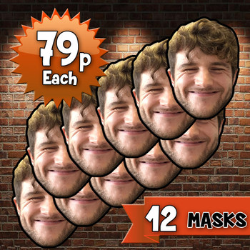 12 x personalised create your own diy photo celebrity face mask Fancy Dress Face Mask 2021s - custom Fancy Dress Face Mask 2021s