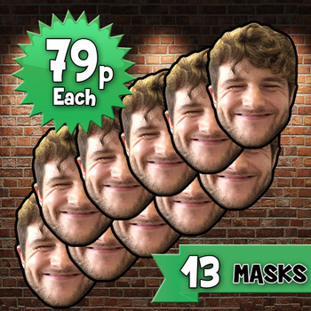 13 x personalised create your own diy photo celebrity face mask Fancy Dress Face Mask 2021s - custom Fancy Dress Face Mask 2021s