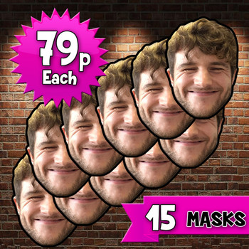 15 x personalised create your own diy photo celebrity face mask Fancy Dress Face Mask 2021s - custom Fancy Dress Face Mask 2021s