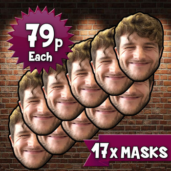 17 x personalised create your own diy photo celebrity face mask Fancy Dress Face Mask 2021s - custom Fancy Dress Face Mask 2021s