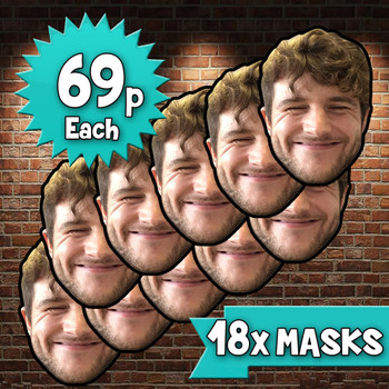 18 x personalised create your own diy photo celebrity face mask Fancy Dress Face Mask 2021s - custom Fancy Dress Face Mask 2021s