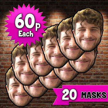 20 x personalised create your own diy photo celebrity face mask Fancy Dress Face Mask 2021s - custom Fancy Dress Face Mask 2021s