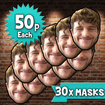 30 x personalised create your own diy photo celebrity face mask Fancy Dress Face Mask 2021s - custom Fancy Dress Face Mask 2021s