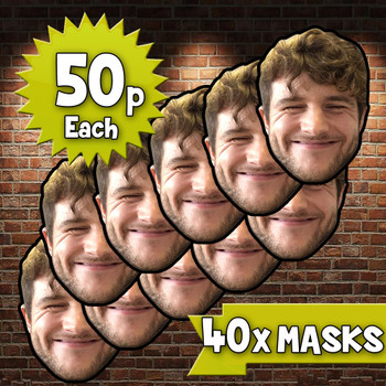 40 x personalised create your own diy photo celebrity face mask Fancy Dress Face Mask 2021s - custom Fancy Dress Face Mask 2021s