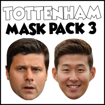 Tottenham Champions League Mask Pack 3 SON HEUNG-MIN, AND Mauricio Pochettino Party Face Masks Pack