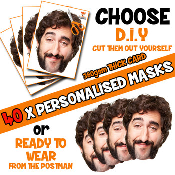 40 x PERSONALISED CUSTOM PHOTO DIY OR CUT PARTY FACE MASKS - Stag & Hen Party Facemasks