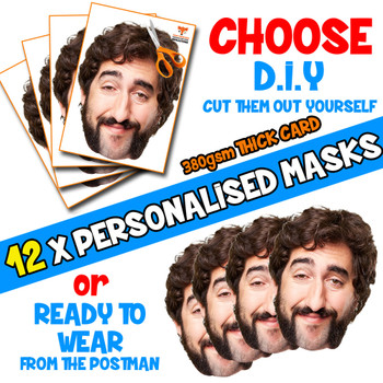 12 x PERSONALISED CUSTOM Stag Masks PHOTO DIY OR CUT PARTY FACE MASKS - Stag & Hen Party Facemasks