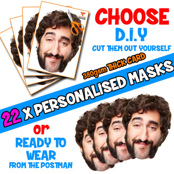 22 x PERSONALISED CUSTOM Stag Masks PHOTO DIY OR CUT PARTY FACE MASKS - Stag & Hen Party Facemasks