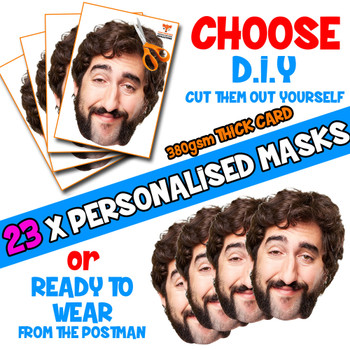 23 x PERSONALISED CUSTOM Stag Masks PHOTO DIY OR CUT PARTY FACE MASKS - Stag & Hen Party Facemasks