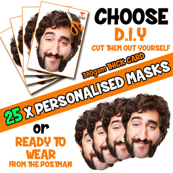 25 x PERSONALISED CUSTOM Stag Masks PHOTO DIY OR CUT PARTY FACE MASKS - Stag & Hen Party Facemasks