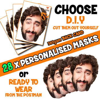 28 x PERSONALISED CUSTOM Stag Masks PHOTO DIY OR CUT PARTY FACE MASKS - Stag & Hen Party Facemasks