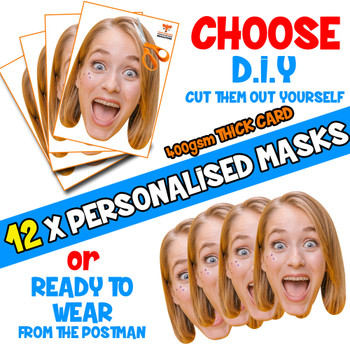 12 x PERSONALISED CUSTOM Hen Party Masks PHOTO DIY OR CUT PARTY FACE MASKS - Stag & Hen Party Facemasks