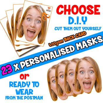 23 x PERSONALISED CUSTOM Hen Party Masks PHOTO DIY OR CUT PARTY FACE MASKS - Stag & Hen Party Facemasks