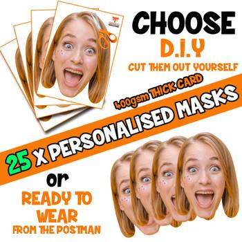 25 x PERSONALISED CUSTOM Hen Party Masks PHOTO DIY OR CUT PARTY FACE MASKS - Stag & Hen Party Facemasks