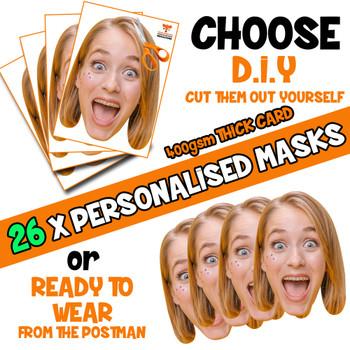 26 x PERSONALISED CUSTOM Hen Party Masks PHOTO DIY OR CUT PARTY FACE MASKS - Stag & Hen Party Facemasks