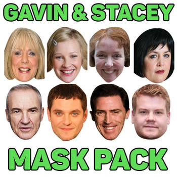 Gavin & stacey 8 x Fancy Dress Face Mask 2021 pack - all characters