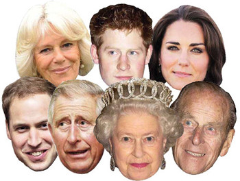 Diamond Jubilee Queen Philip Harry William Kate Charles Camilla Face Mask 7 Pack