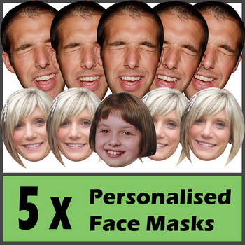 5 X Personalised Face Masks Stag | Hen | Birthday | Wedding