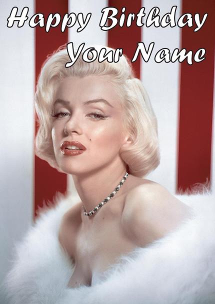 Marilyn Monroe Red Stripe Birthday Card
