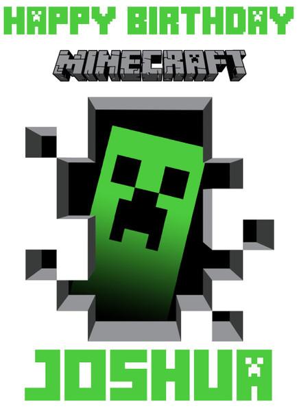 Minecrafting Theme Creeper White Birthday Card