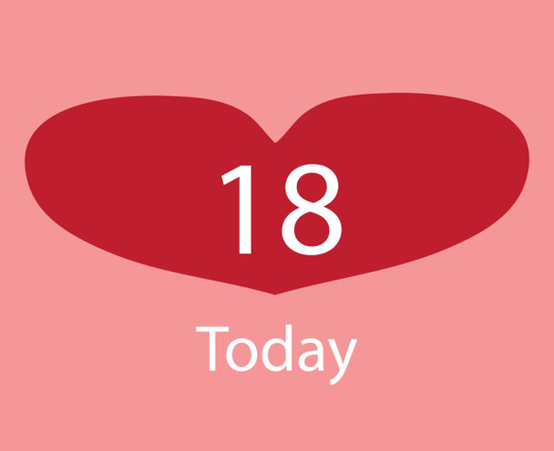 18th Red Heart Birthday Card