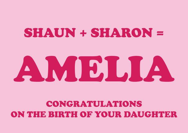 Shaun Plus Sharon Equals Amelia Birthday Card