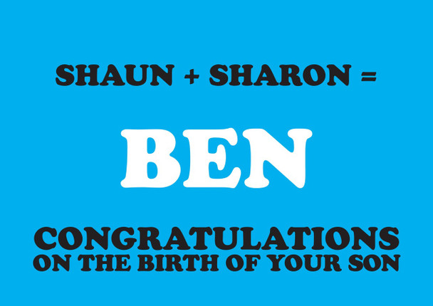 Shaun Plus Sharon Equals Ben Birthday Card