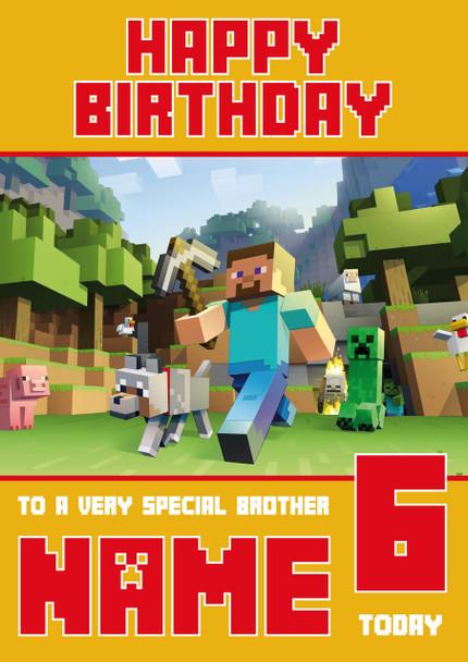 Minecrafting Theme 4 Brother Birthday Card