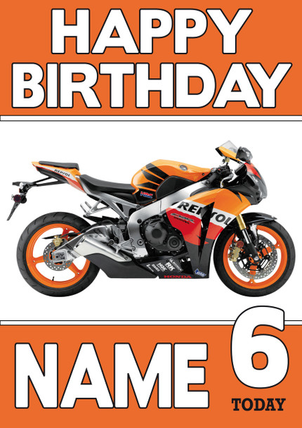 Personalised Honda Bike Orange Birthday Card