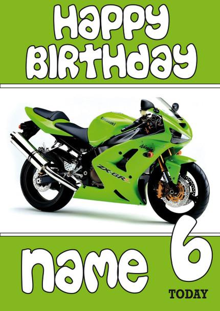 Personalised Kawasaki Bike Green Birthday Card