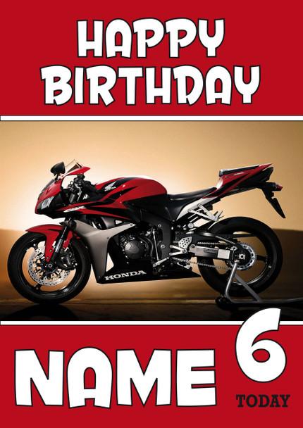 Personalised Honda Bike Red Birthday Card